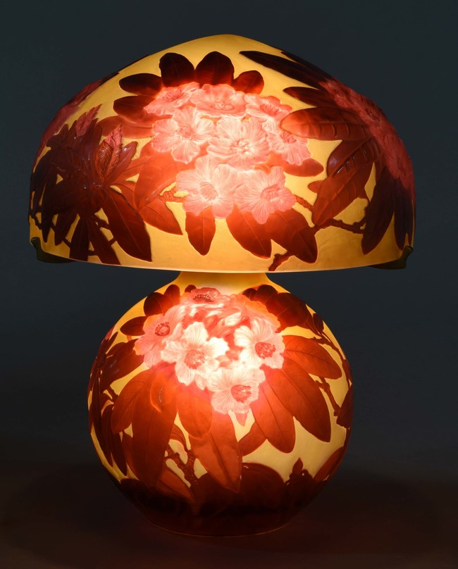 Important Galle mold-blown Rhododendron lamp, matching shade and bulbous base, double-signed, similar to book example. Est. $100,000-$150,000