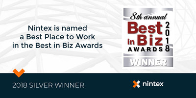 Nintex is pleased to announce it has been named a 2018 Best Place to Work by the Best in Biz Awards, an independent business awards program judged each year by editors and reporters from top-tier publications in North America.