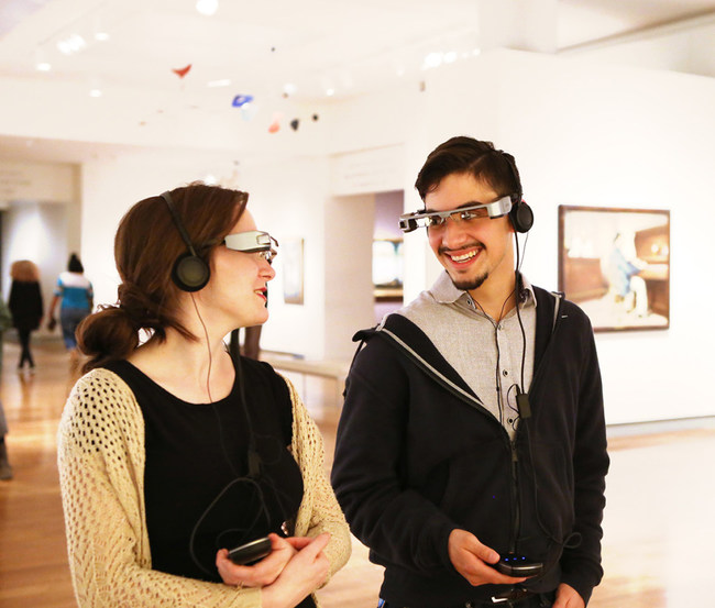 Visitors to the Virginia Museum of Fine Arts enjoy paintings enhanced by ARtGlass' augmented reality software.