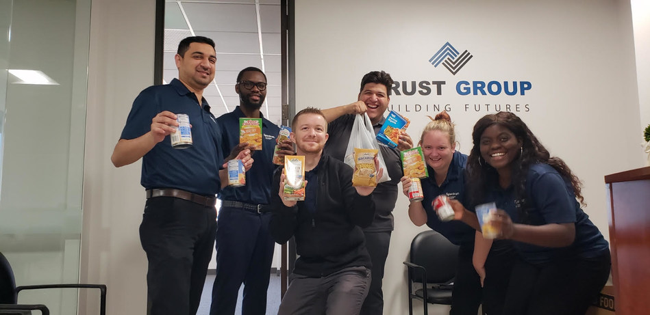 Trust Group donated food and collected funds to support the North Texas Food Bank leading up to Thanksgiving.