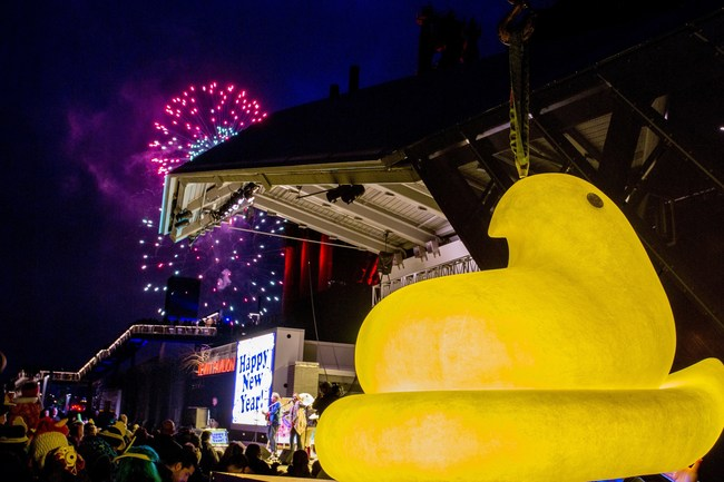 The PEEPS® Chick rings in the new year at the 7th annual PEEPSFEST® at SteelStacks Thursday, December 31, 2015 in Bethlehem, Pennsylvania. The annual 2-day festival consists of family-friendly activities and a PEEPS® Chick Drop along with fireworks at dusk. Jeff Fusco/AP Images for Just Born Quality Confections