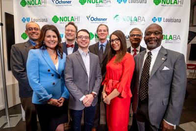 Representatives from Blue Cross and Blue Shield of Louisiana, Ochsner Health System, Lafayette General Foundation, New Orleans Department of Health, and Axosim attend the launch of the New Orleans Health Innovators Challenge.