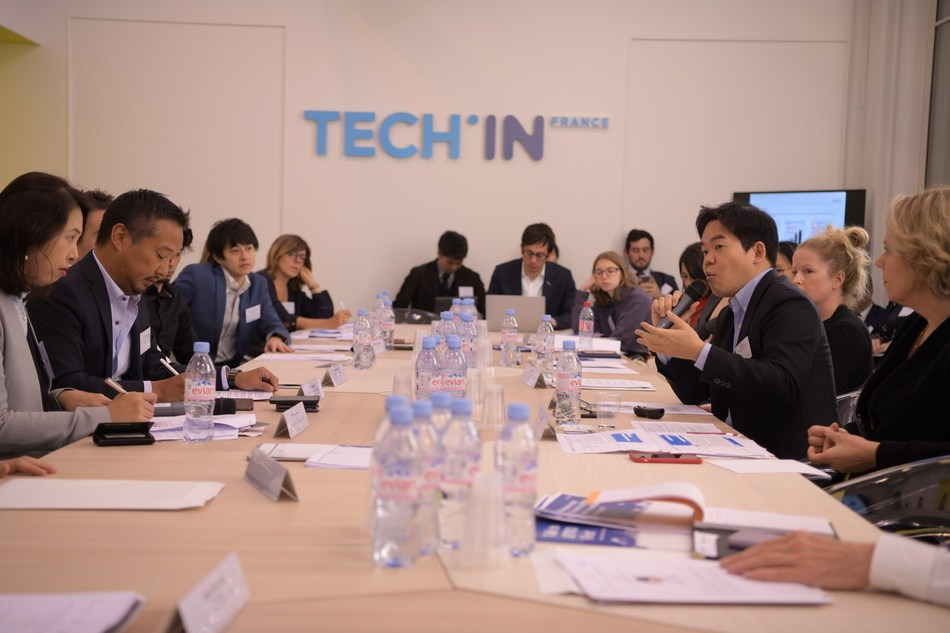 Guests at a Japan-France business start-up roundtable, hosted by the Government of Japan and supported by Tech In France on 22 November 2018 in Paris, listen to Ren Ito, Chief executive Officer, Mercari Europe. (PRNewsfoto/Government of Japan)