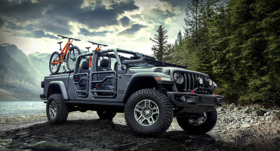 A Mopar-modified 2020 Jeep Gladiator Rubicon, on display at the 2018 Los Angeles Auto Show, highlights the open-air personalization potential of the most capable midsize truck ever. The Mopar brand will deliver a portfolio of more than 200 parts and accessories available to enhance the all-new 2020 Jeep® Gladiator.