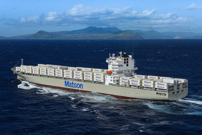 Matson's new vessel 'Daniel K. Inouye' making its first approach to Honolulu on its maiden voyage,  November 28, 2018.