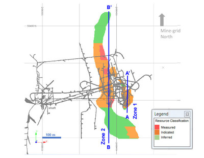 Diagram 1: 2018 Mineral Resource Estimate at 3.0 g/t Au Cut-off Grade – Plan View 305-metre level (CNW Group/Rubicon Minerals Corporation)