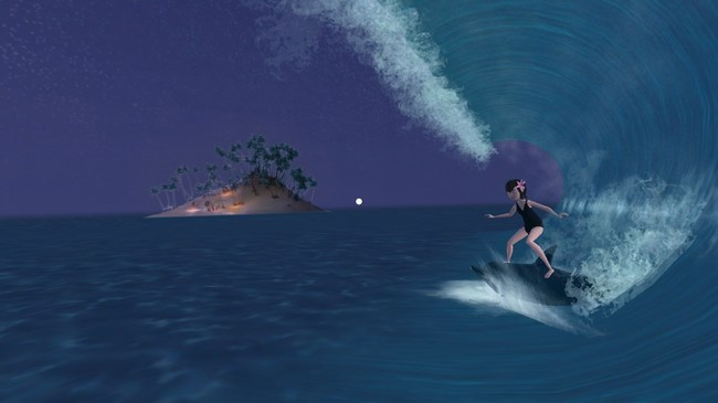 Dolphin-surfing with Mavis is one of several interactive experiences that are only available through Quantum Storey's newest VR Book, Hotel Transylvania 3 Virtual Vacation. Available now at walmart.com and Walmart stores nationwide.