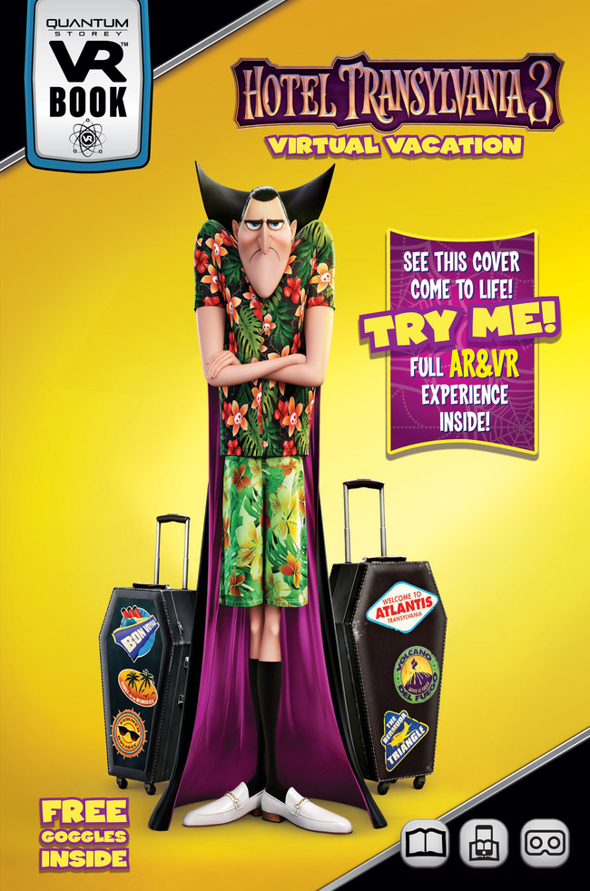 Hotel Transylvania 3 Virtual Vacation from Quantum Storey -- the first VR Book based on a major motion picture. Available now at walmart.com and Walmart stores nationwide.