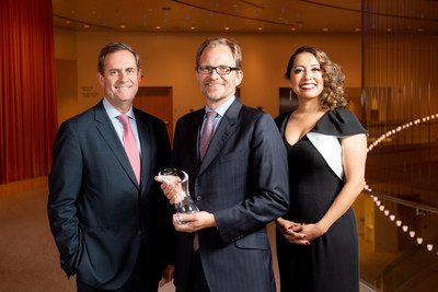 From left to right: Pierre Ramadier, Head of Bank of the West's Wealth Management Group; Matt Petersen, Los Angeles Cleantech Incubator President and CEO; Jenny Flores, Senior Vice President, Corporate Social Responsibility at Bank of the West.