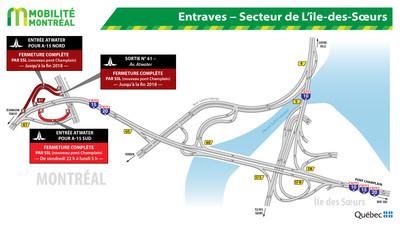 Entraves - Secteur de L'Île-des-Sœurs (Groupe CNW/Ministère des Transports)