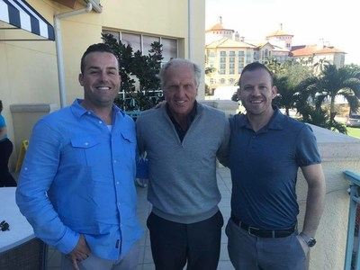 From left, Edison Interactive CRO and co-founder Nick Stanitz-Harper, golfer Greg Norman, and Edison CEO and co-founder Jeremy Ostermiller.