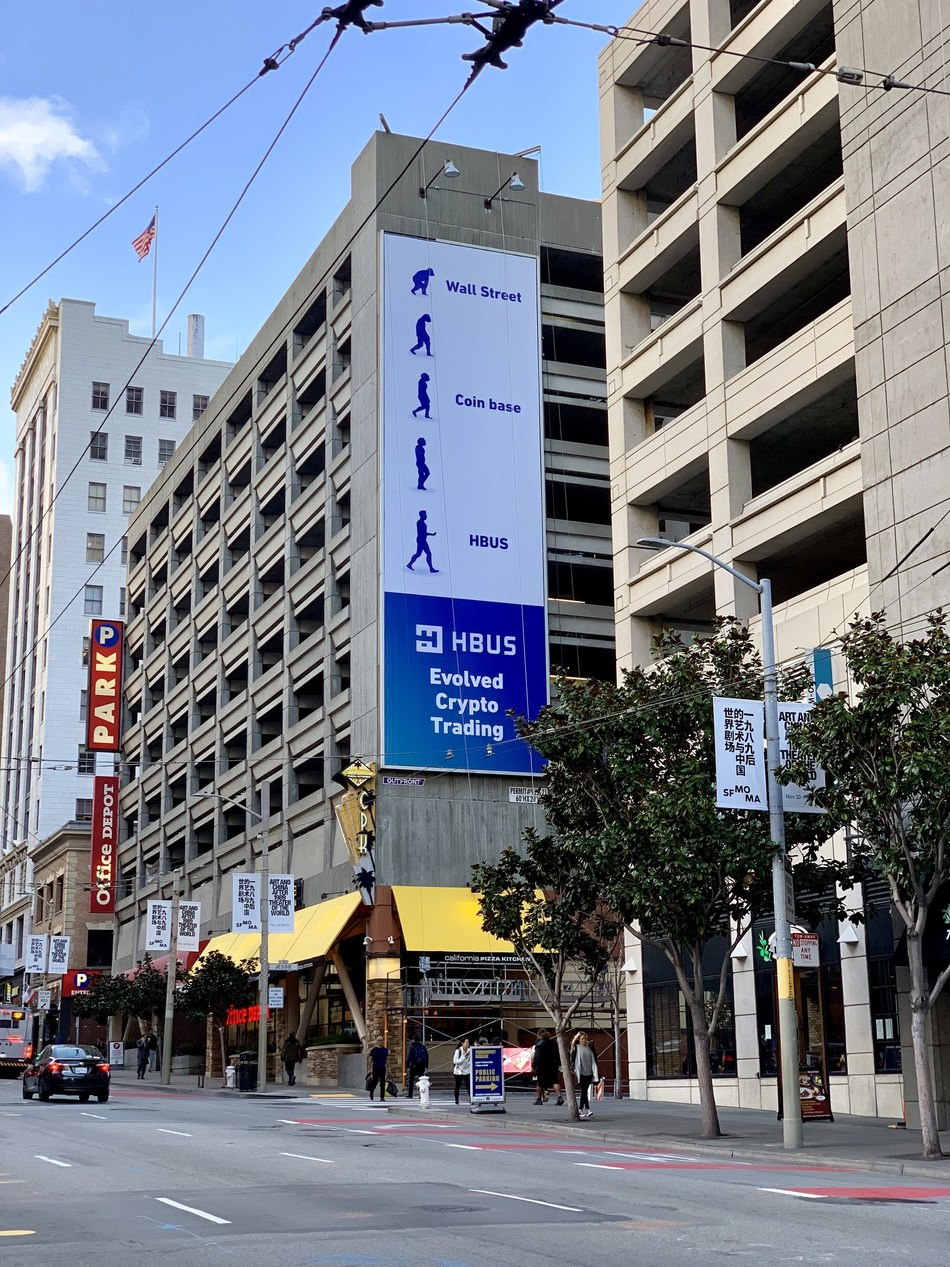 "The HBUS ""Evolved Crypto Trading"" Billboard in downtown San Francisco"