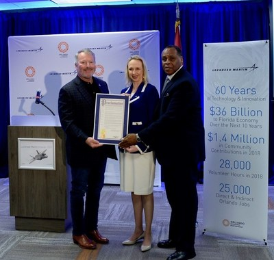 "City of Orlando Mayor Buddy Dyer proclaims Nov. 30, 2018 as ""Lockheed Martin Innovation and Technology Day"" with Lockheed Martin vice presidents Amy Gowder and Michael Williamson. Photo: Lockheed Martin"