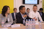 Kei Shimada, Director of Innovation, Leader of Digital Makers Lab, IBM Japan talking to members of the Paris start-up community at a business roundtable held in Paris on 22 November 2018, hosted by the Government of Japan and supported by Tech In France (next to him: Keiko Yamamoto, Counselor, Prime Minister's Office of Japan and Bastien Nowicki, Development and Operating Manager, TECH In France.