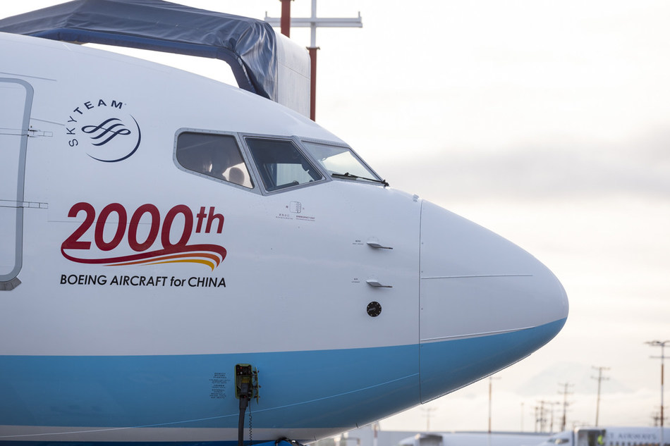 The particular addition to China's civil aviation fleet had a unique message painted on its hull, 2000th BOEING AIRCRAFT for CHINA.