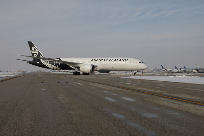 Air New Zealand's inaugural flight between Auckland and Chicago landed at O'Hare International Airport last Friday afternoon.