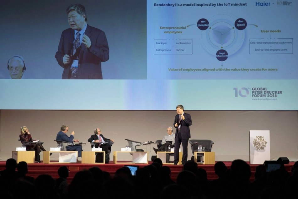 Zhang Ruimin, chairman of the Board and CEO of Haier Group, delivers a speech at the Global Peter Drucker Forum in Vienna on Nov. 30. [Photo courtesy of Haier]