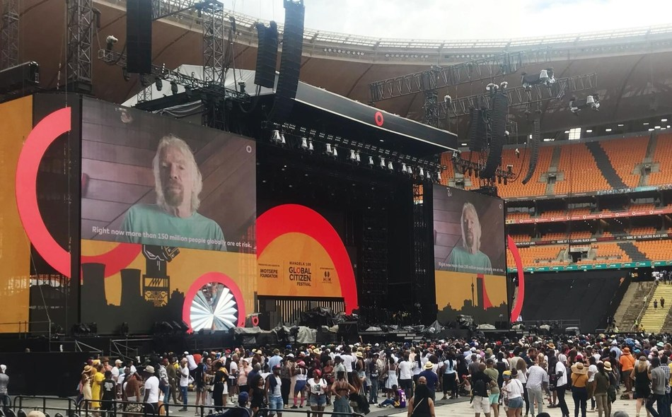 Richard Branson announced the funding at the Global Citizen concert in South Africa. (PRNewsfoto/Sightsavers)