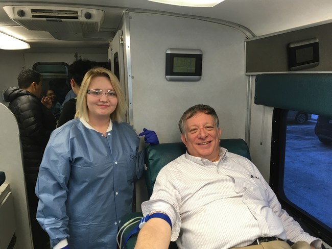 Ed Leach, blood donor, donates on Saturday after the earthquake.