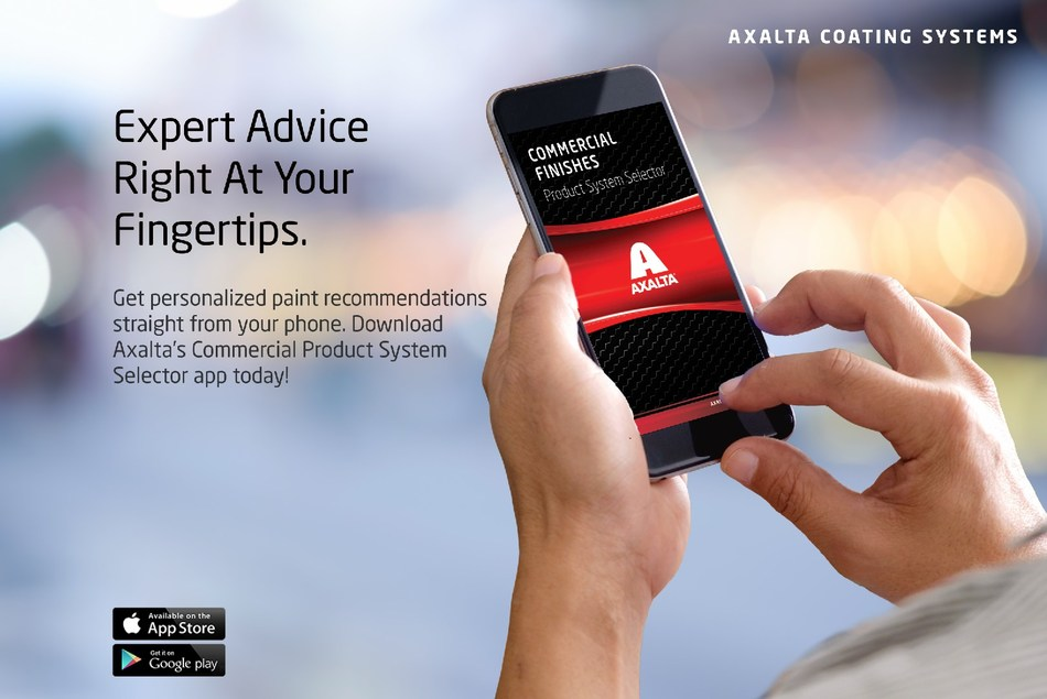 Axalta's Commercial Coatings Product System Selector App is Available for Download Now.