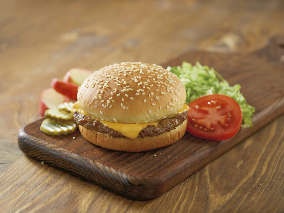 Red's Cheeseburger, part of Red Robin's Kids' Menu, is a classic beef, grilled chicken, turkey or veggie patty topped with American cheese and lettuce, tomatoes and pickles on the side