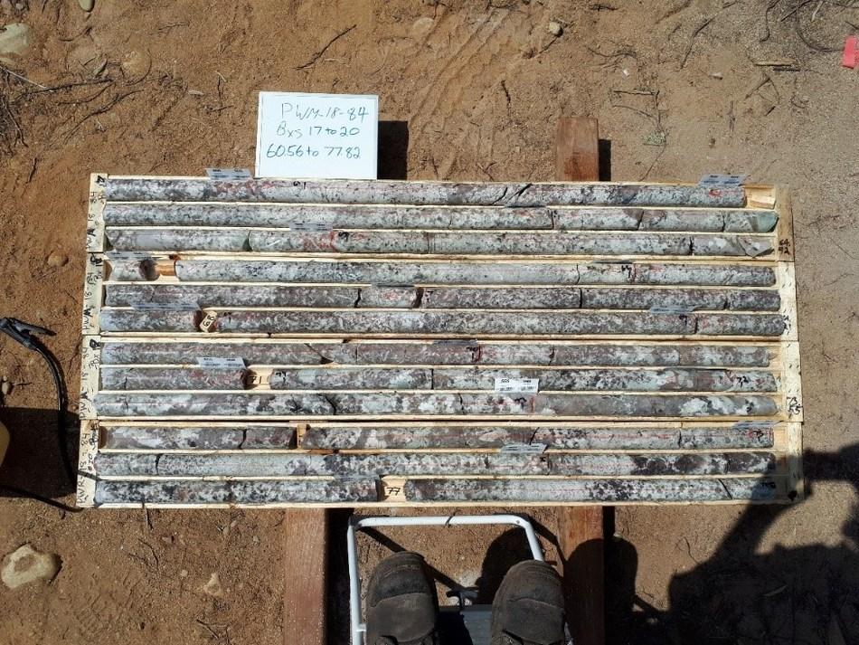 Figure 2 PWM-18-84, boxes 17 to 20, 60.56-77.82 m, spodumene granite (boxes 17 to 19) and spodumene pegmatite (boxes 19 and 20), Main Dyke, Case Lake. (CNW Group/POWER METALS CORP)