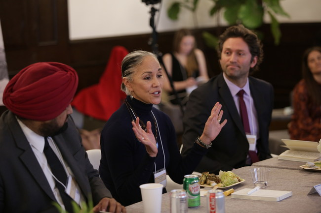 Unilever Global EVP of Skin Cleansing, Samir Singh, Lava Mae Founder & CEO, Doniece Sandoval, and Miracle Message Founder & CEO, Kevin Adler, in discussion at The Right to Dignity announcement in NYC.