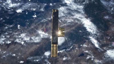 An artist's depiction of ICEYE-X2 SAR satellite in orbit.