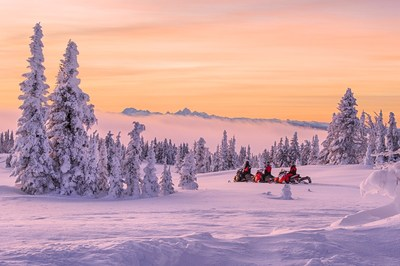 Snowmobiling on Two Top Mountain, Custer Gallatin National Forest. (Photo Courtesy: Visit Montana/Ken Takata)