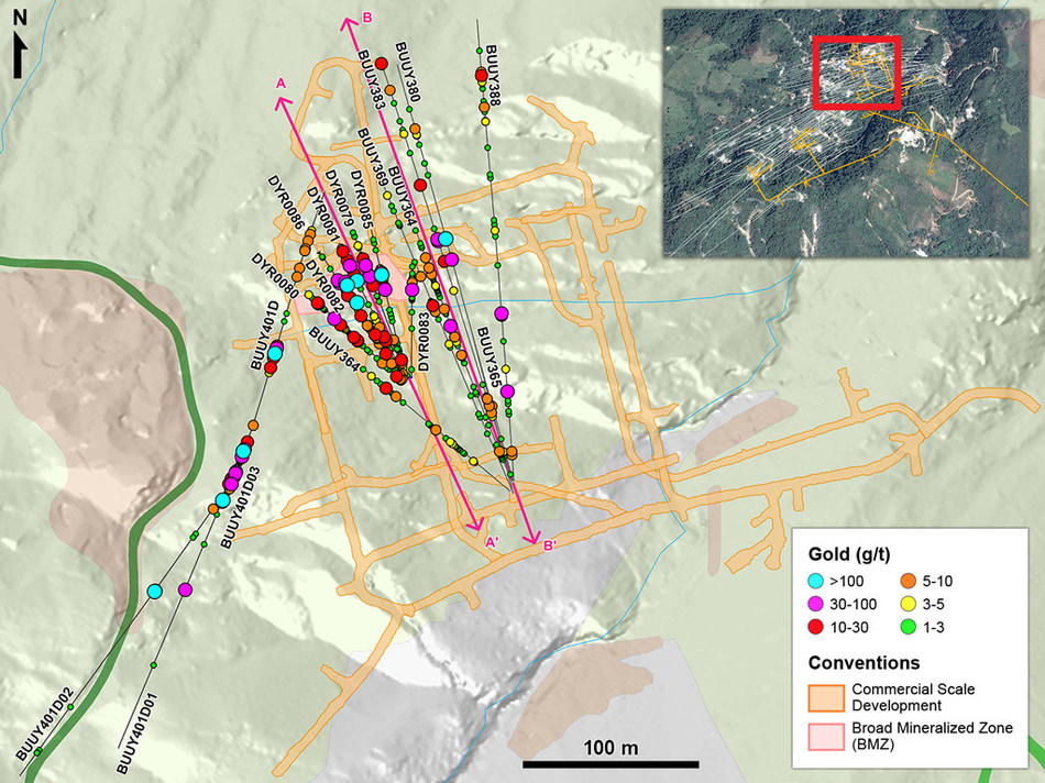 Figure 1 – Plan View of Infill and Definition Drilling in the Yaraguá System (CNW Group/Continental Gold Inc.)