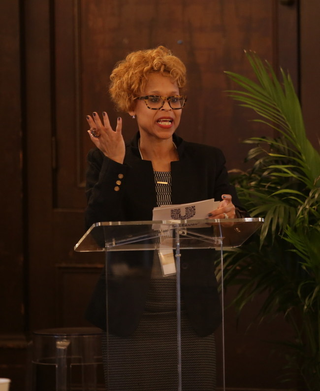 Unilever EVP & COO NA Beauty and Personal Care, Esi Eggleston Bracey, kicks off The Right to Dignity announcement with opening remarks.