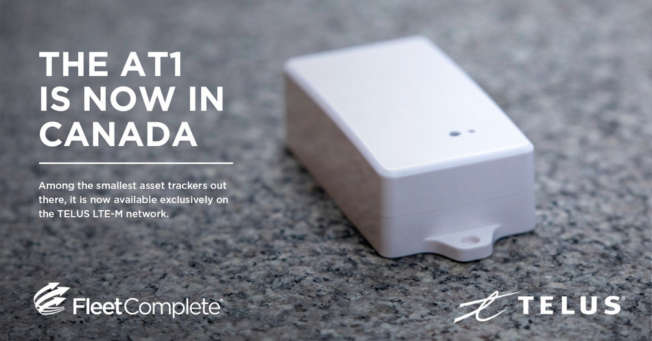 """""""TELUS' recently launched LTE-M network is empowering the future of IoT in Canada, and solutions like Fleet Complete's AT1 asset tracker are exactly the type of devices that will help bring that future to life,"""" said Michael Cihra, TELUS VP of IoT. (CNW Group/Fleet Complete)"""