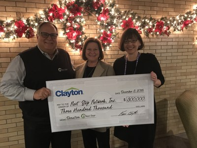 From left: Next Step CEO Chris Nicely, Clayton Director of Philanthropy Susan Brown and Next Step President and Founder Stacey Epperson. Clayton donated $300,000 to Next Step during Prosperity Now's Annual I'M HOME conference in Nashville Monday, Dec. 3, 2018.