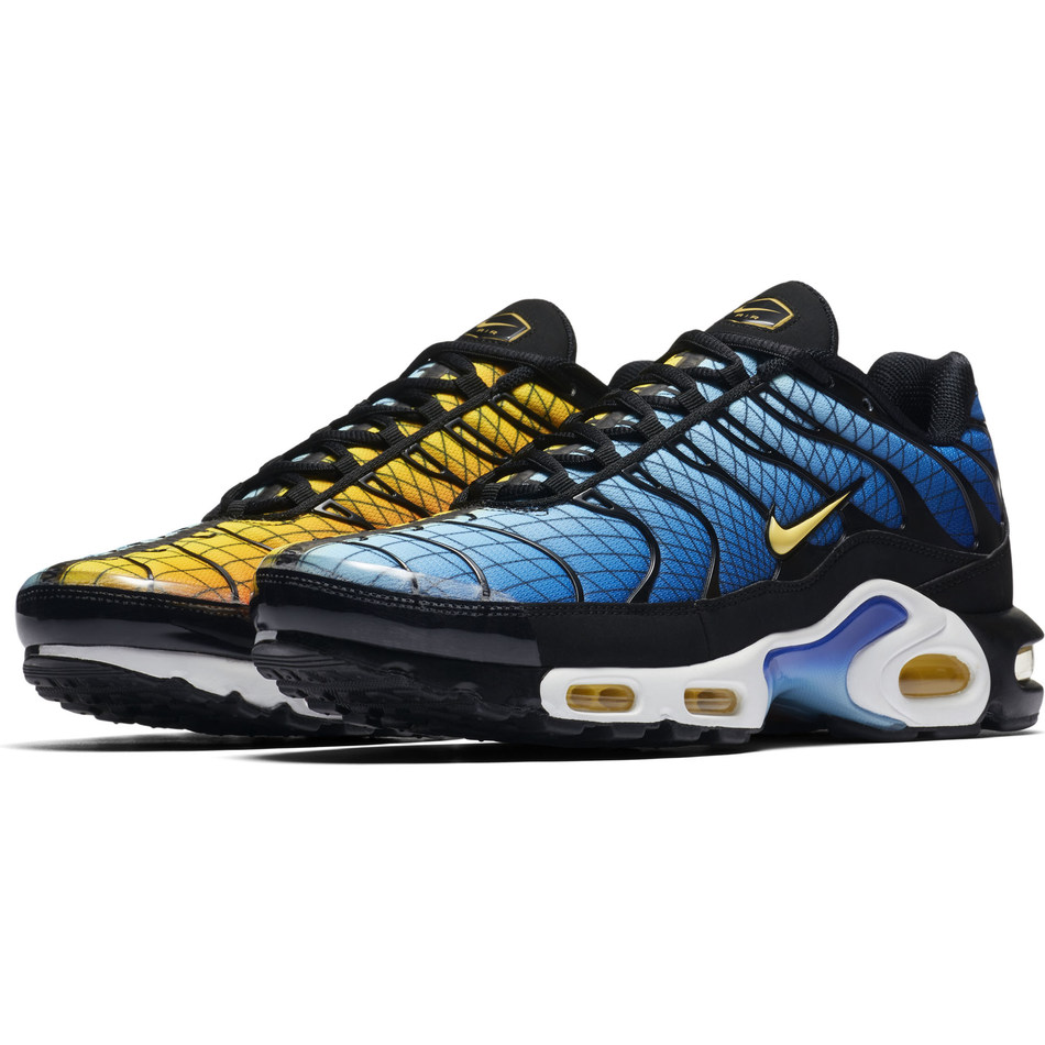 """Nike Air Max Plus """"Greedy"""" in Fire/Blue available exclusively at Foot Locker beginning Dec. 8."""