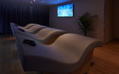 Meditation room with acoustic resonance loungers at newly launched Mareel Wellness & Beauty Spa on Cunard's Queen Elizabeth