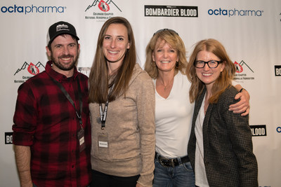 Chris Bombardier, the first person with hemophilia to climb the Seven Summits, presented a Denver screening of Bombardier Blood, the documentary on his incredible journey sponsored by Octapharma USA. Pictured (from left) during the screening are Bombardier and his wife, Jessica Bombardier, Laureen A. Kelley, founder of Save One Life, and Amy Board, Executive Director of NHF Colorado.