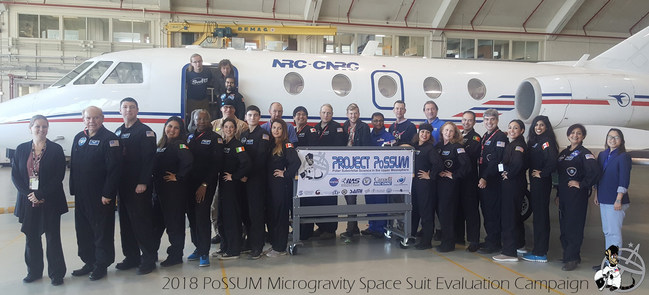 The Project PoSSUM test team involved 18 scientist-astronaut candidates originating from eight different countries. These candidates supporting eight microgravity experiments including studies in fluid mechanics, planetary sciences, and life support systems with the National Research Council of Canada and the Canadian Space Agency. These tests also marked the fourth time that Project PoSSUM has tested Final Frontier Design space suits in microgravity.