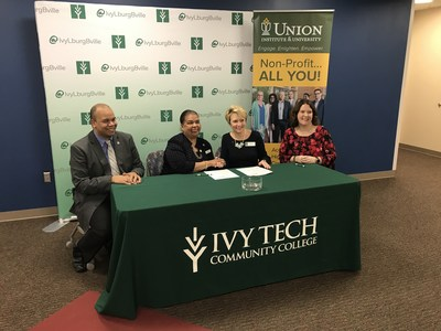 It's Official. Union Institute & University and Ivy Tech Community College sign transfer agreement making it seamless to complete a bachelor's degree at UI&U. Left to right, Dr. Nelson E. Soto, Union Provost, Vice President, Academic Affairs, Dr. Karen Schuster Webb, President, Union Institute & University, Dr. Sue Ellspermann, President, Ivy Tech Community College, Dr. Kara Monroe, Ivy Tech Provost.