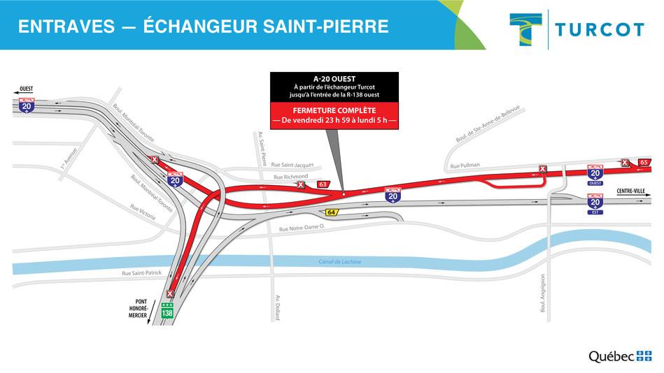 Entraves − Échangeur Saint-Pierre (Groupe CNW/Ministère des Transports)