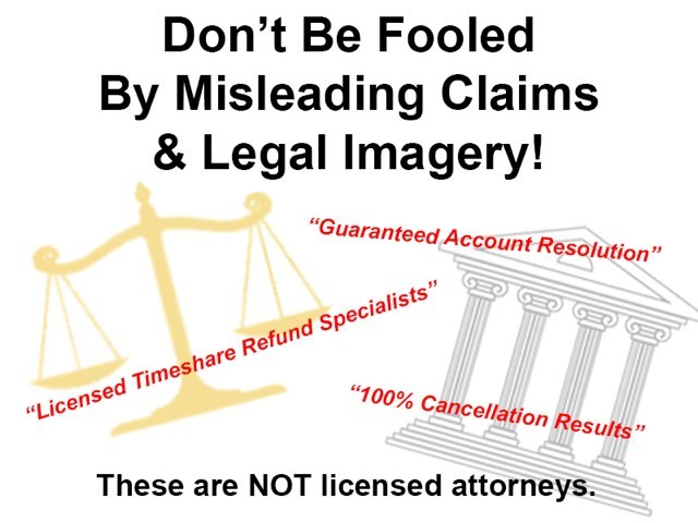 Timeshare cancellation companies portraying themselves as legal firms, when in fact they are not licensed law firms. They are DIY (Do It Yourself) form letter writing companies that have nothing to do with the legal profession. For a free no obligation consultation by Leading Timeshare Attorney Susan Budowski go to www.susanbudowski.com