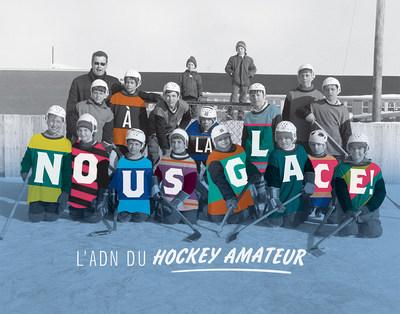 Visuel réalisé par Philippe Legris à partir de la photographie Club de hockey de Saint-Boniface,1968. BAnQ Sherbrooke, fonds Jacques Darche. Photo : Jacques Darche (Groupe CNW/Bibliothèque et Archives nationales du Québec)