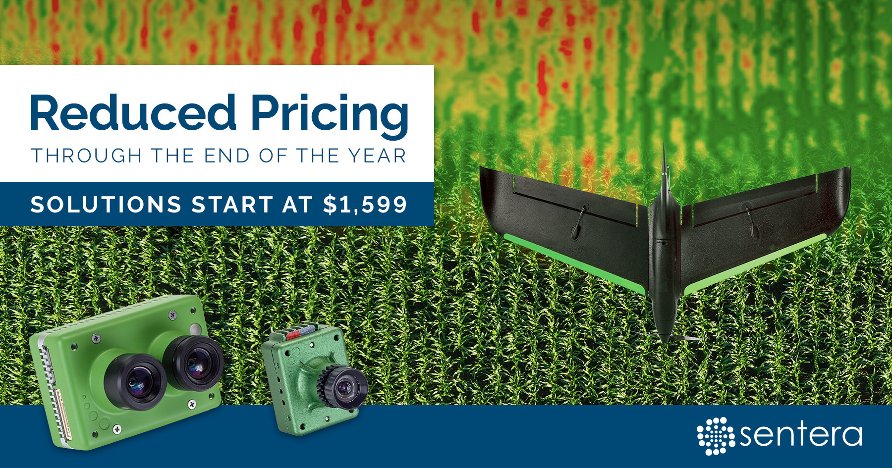 Sentera announces precision ag solution price promotion, with $600 or more off the industry leading sensors through the end of 2018.