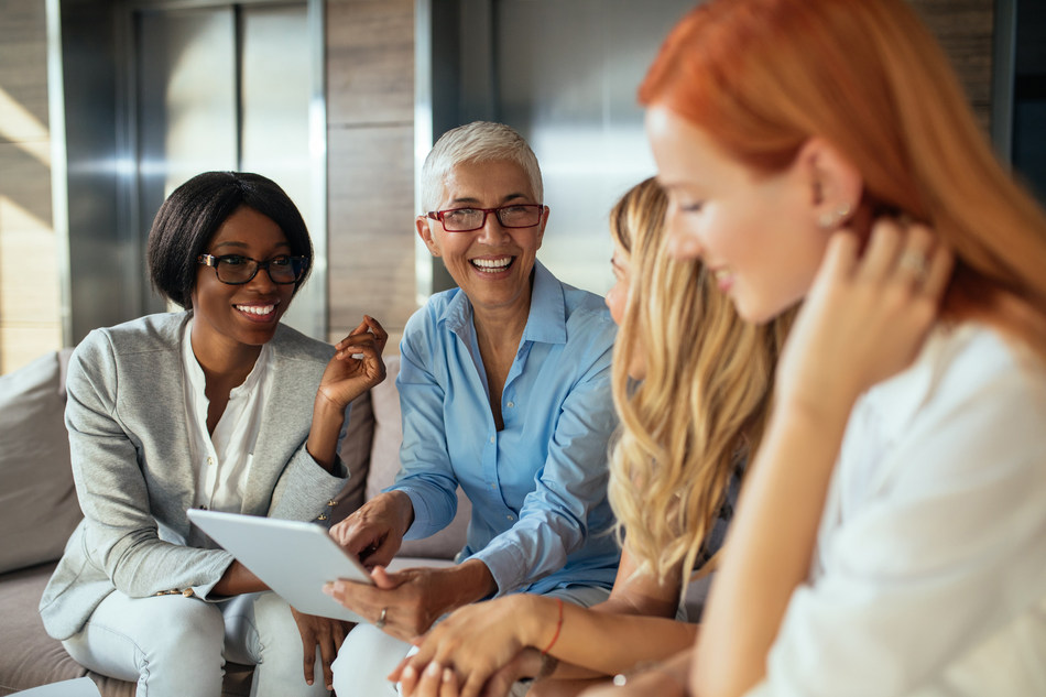 Women brainstorming on the sales strategy of the company