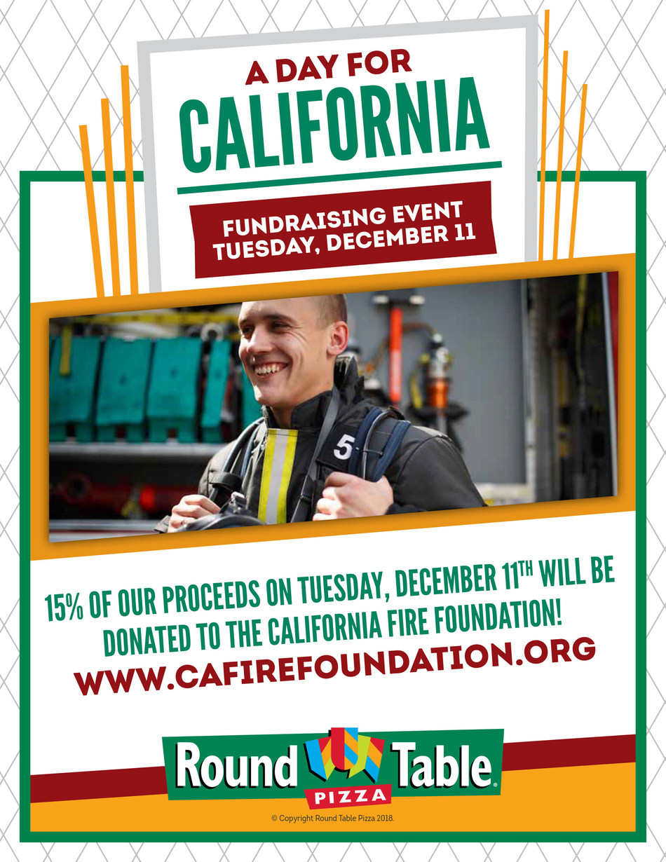 Round Table Pizza to hold fundraiser for The California Fire Foundation on Dec. 11.
