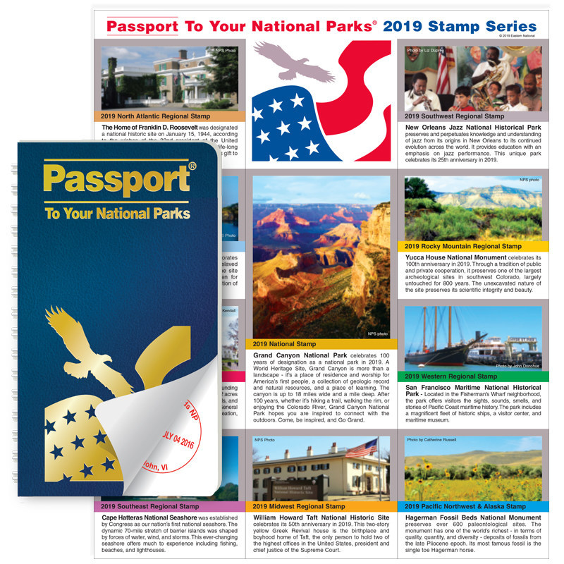 Now available at www.eparks.com -- 2019 Passport To Your National Parks® Regional Stamp Set.