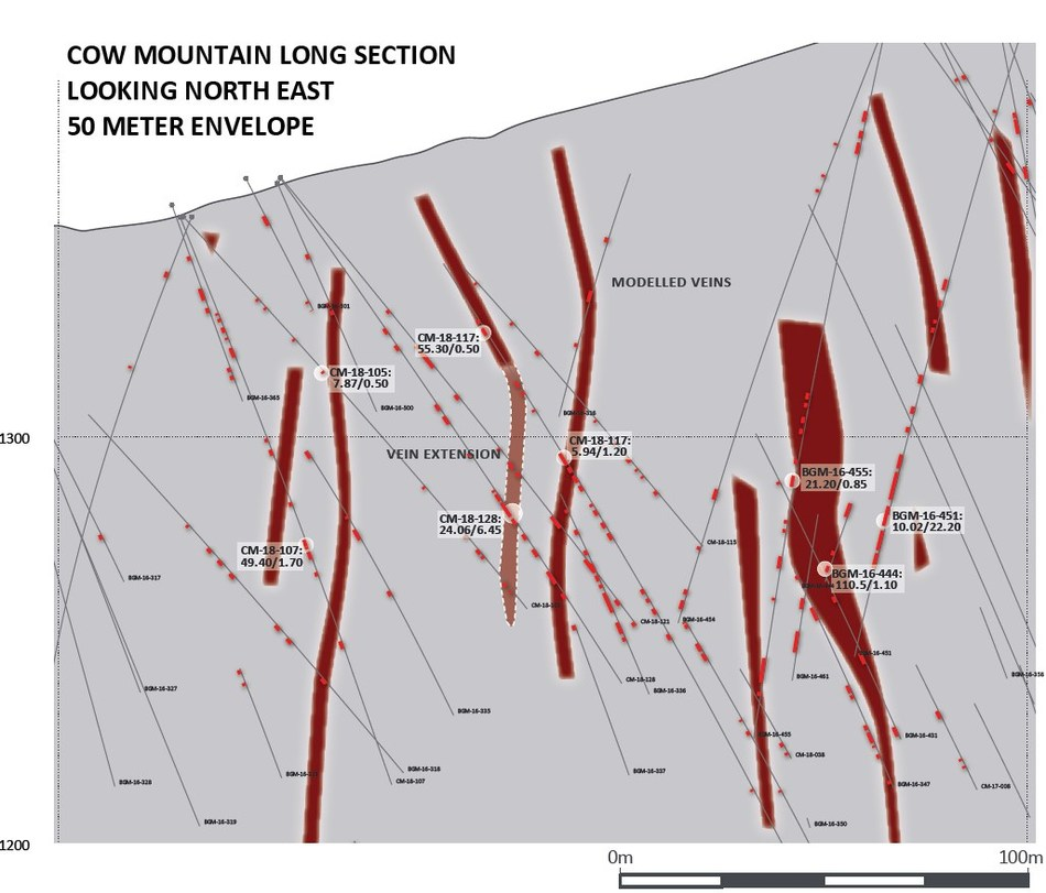 Cow Mountain Long Section (CNW Group/Barkerville Gold Mines Ltd.)