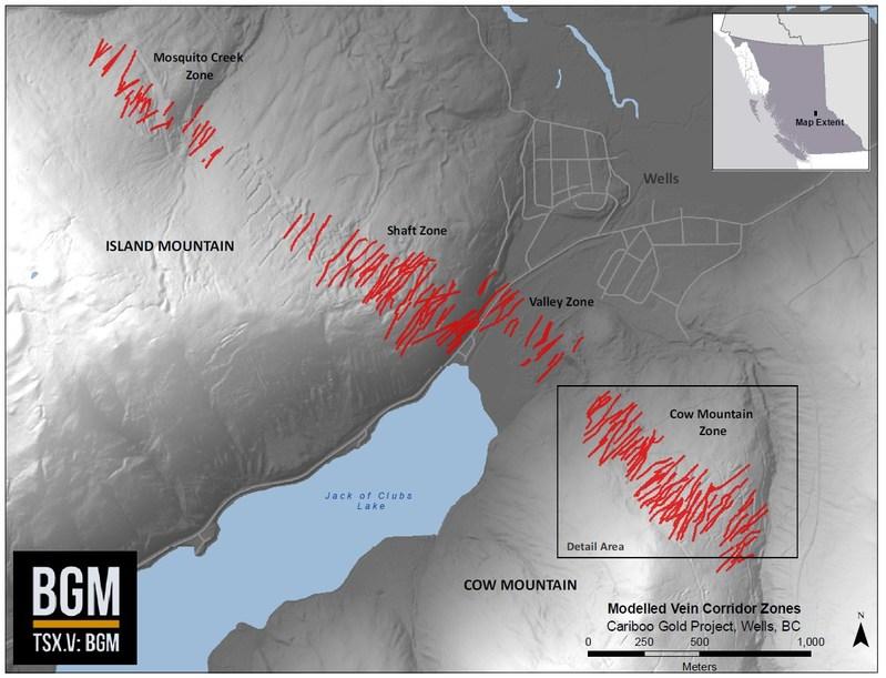 Modelled Vein Corridor Zones (CNW Group/Barkerville Gold Mines Ltd.)