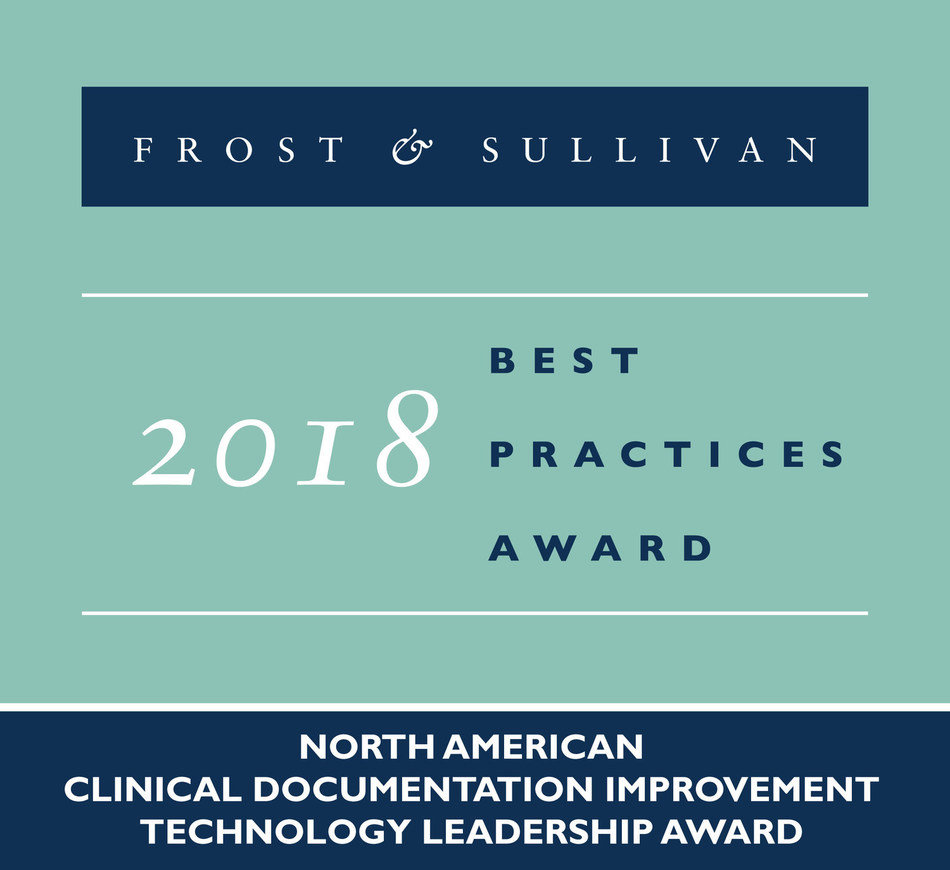 2018 North American Clinical Documentation Improvement Technology Leadership Award (PRNewsfoto/Frost & Sullivan)