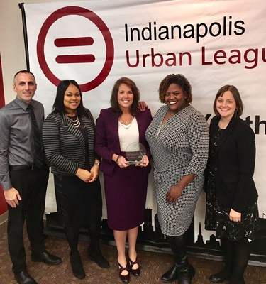 Picture at the Indianapolis Urban League Educational Excellence Forum and Awards Luncheon are Indianapolis Lighthouse South team members, Assistant Principal Steven Harrison, Assistant Principal Valerie Miller, Principal Kim Randall, Regional Director Dr. Tora Townsend, and Indianapolis Lighthouse Board Member Marcie Brown-Carter.