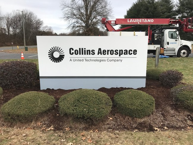 Cheshire CT Collins Aerospace Rebranding by Lauretano Sign Group